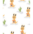 seamless pattern with cute kangaroo vector image
