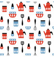seamless pattern with kitchen utensil mid century vector image