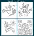 Set of 4 doodle birds vector image