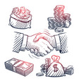 sketch hand shaking doodle dollars packs money vector image vector image