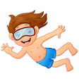 Snorkeling kid waving hand vector image