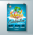 summer party flyer design with 3d vector image