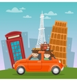 travel car european adventure with architecture vector image