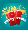 two red party cups with a splashing beer cheers vector image