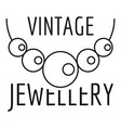 vintage pearls jewellery logo outline style vector image vector image