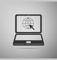website on laptop screen globe and cursor vector image vector image