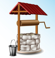 well with metal bucket vector image vector image