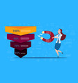 woman hold magnet sales funnel stages business vector image vector image