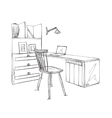 Work place sketch Hand drawn table and chair vector image vector image