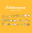 kitchenware icons design set vector image