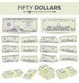 50 dollars banknote cartoon us currency vector image vector image