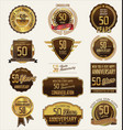 anniversary golden labels and badges 50 years vector image vector image