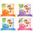 Banners with bee and honey vector image vector image