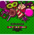 Birthday card with items balloon cake hat star vector image vector image
