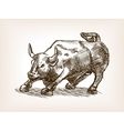 Bull statue hand drawn sketch style vector image vector image