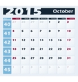 Calendar 2015 October design template vector image vector image
