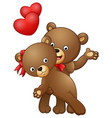 cartoon teddy bear couple dancing with red heart vector image