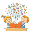 children reading a book together vector image vector image