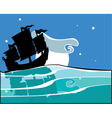 Chinese Junk at night vector image vector image