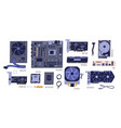 collection computer components pc and laptop vector image