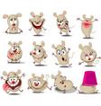 crazy mouse cartoon stickers emoticon - ill vector image