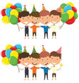 cute boys huggings and carrying colorful bright vector image