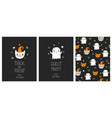 cute hand drawn halloween cards and pattern vector image