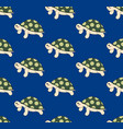 cute turtle on blue background vector image
