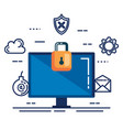 data center security with desktop vector image vector image