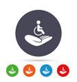 Disabled human insurance sign wheelchair man