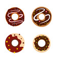 donut icon set flat style vector image vector image