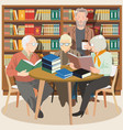 elder people in library interior with books vector image vector image