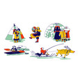 eskimo characters in traditional clothes and vector image vector image