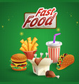 fast food cartoon background vector image