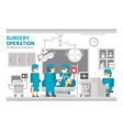 Flat design surgery operating room vector image vector image