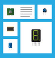 flat icon electronics set of calculate transistor vector image vector image