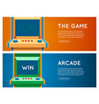 flat retro game machine banner set vector image
