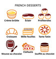 french dessert pastry and cakes icons - cafe vector image