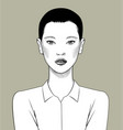 glamor short-haired asian woman in white shirt vector image