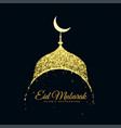 glitter mosque eid mubarak background vector image vector image