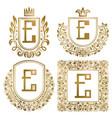 golden vintage monograms set heraldic logos e vector image vector image