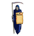 grim reaper cute laughing skeleton with scythe vector image