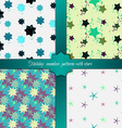 Grunge colorful geometric seamless patterns set vector image vector image
