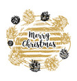 hand drawn christmas card with lettering sketch vector image