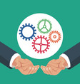 hands holding gears work vector image vector image