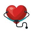 heart and medical sthetoscope vector image