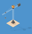 industrial construction crane isometric crane vector image