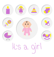 Its a girl Baby girl shower card Bottle horse vector image vector image