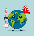 kawaii earth planet sad with thermometer warning vector image vector image