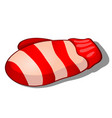 knitted striped cartoon mitten in red and white vector image vector image